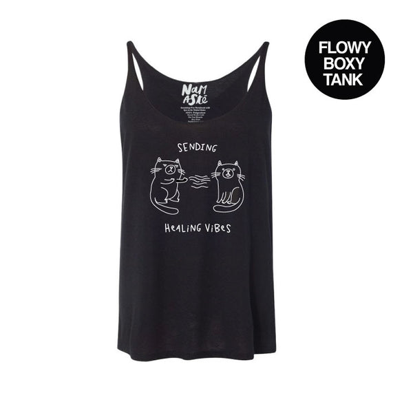 HEALING VIBES SOLID BLACK FLOWY BOXY TANK