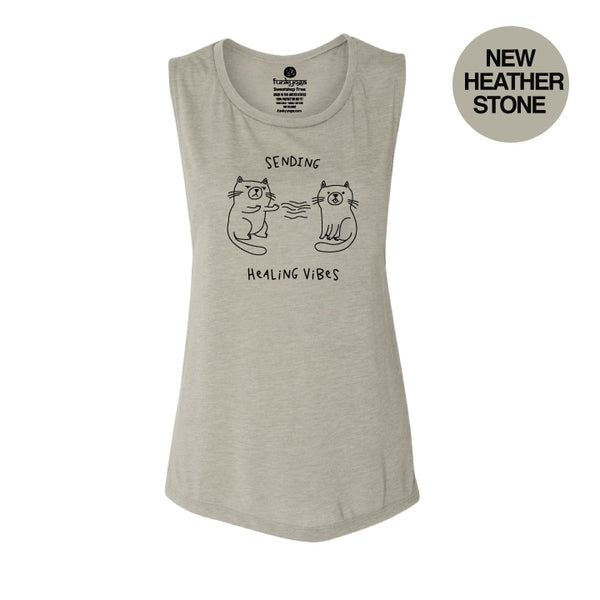 HEALING BACK HEATHER STONE FLOWY MUSCLE TANK