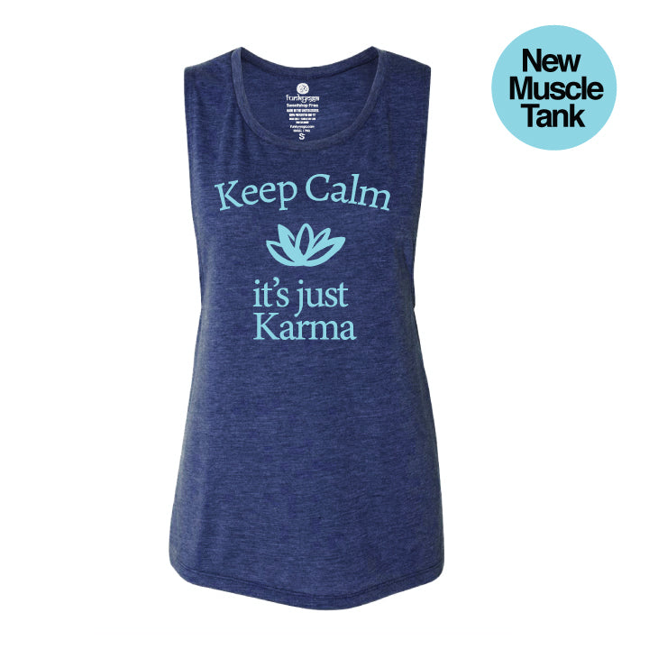 KEEP CALM HEATHER NAVY FLOWY MUSCLE TANK - Funky Yoga  Gear & Accessories