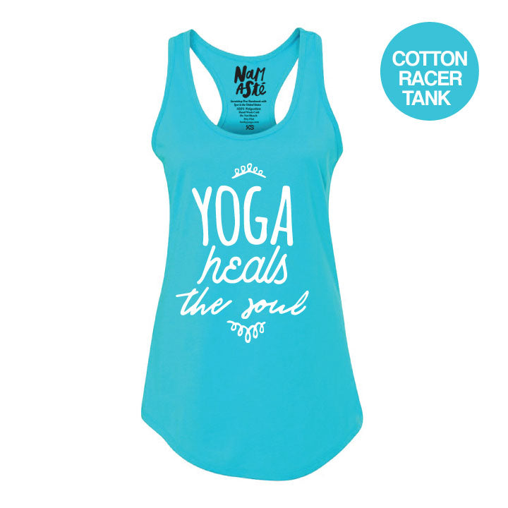 YOGA HEALS ~ AQUA COTTON RACER TANK