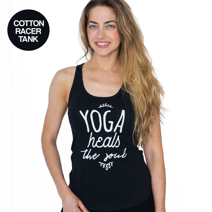 YOGA HEALS ~ BLACK COTTON RACER TANK