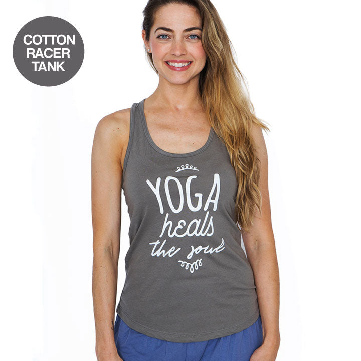 YOGA HEALS ~ WARM GREY COTTON RACER TANK