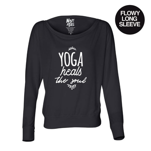 YOGA HEALS SOLID BLACK FLOWY LONG SLEEVE