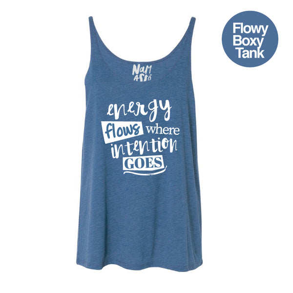 ENERGY FLOWS HEATHER TEAL FLOWY BOXY TANK