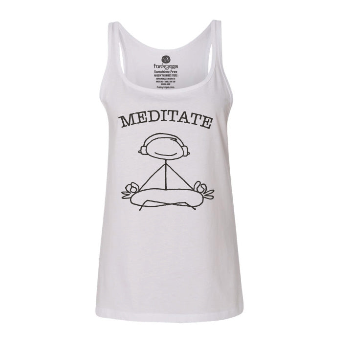 MEDITATE ~ WHITE COTTON WIDE NECK TANK