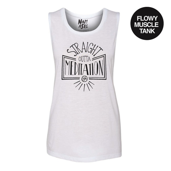STRAIGHT OUTTA ~  WHITE FLOWY MUSCLE TANK~