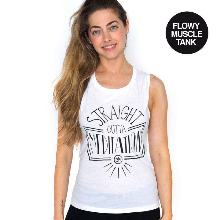 STRAIGHT OUTTA ~ SOLID WHITE FLOWY MUSCLE TANK~