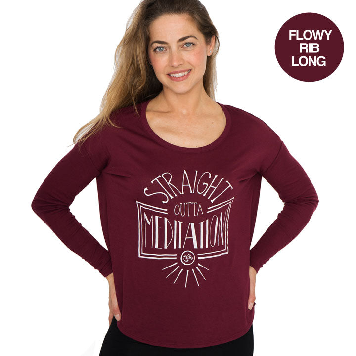 STRAIGHT OUTTA BURGUNDY FLOWY RIB LONG