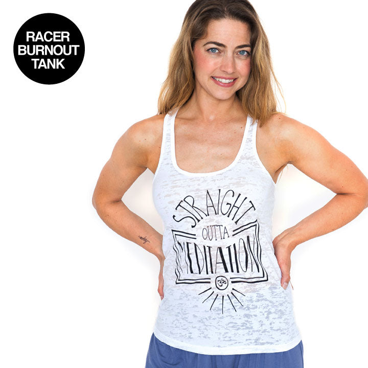 STRAIGHT OUTTA ~ WHITE BURNOUT RACER TANK
