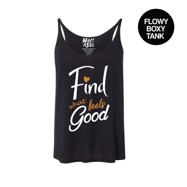 FIND WHAT FEELS GOOD SOLID BLACK FLOWY BOXY TANK