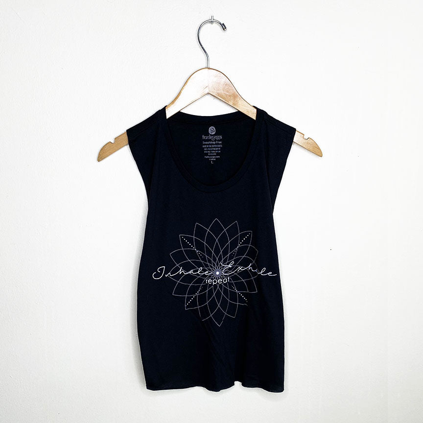 EXHALE REPEAT ~ BLACK COTTON MUSCLE CROP TANK