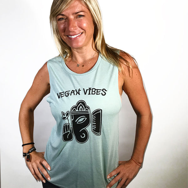 VEGAN VIBES ~ LIGHT GREEN FLOWY MUSCLE TANK