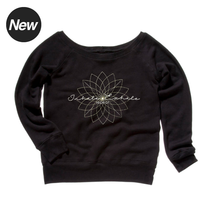 EXHALE REPEAT ~ BLACK OFF THE SHOULDER TRI BLEND FLEECE