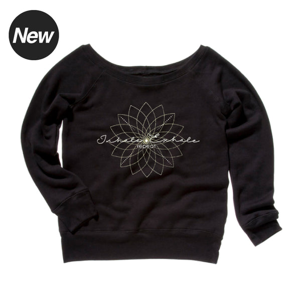 EXHALE REPEAT BLACK OFF THE SHOULDER TRI BLEND FLEECE