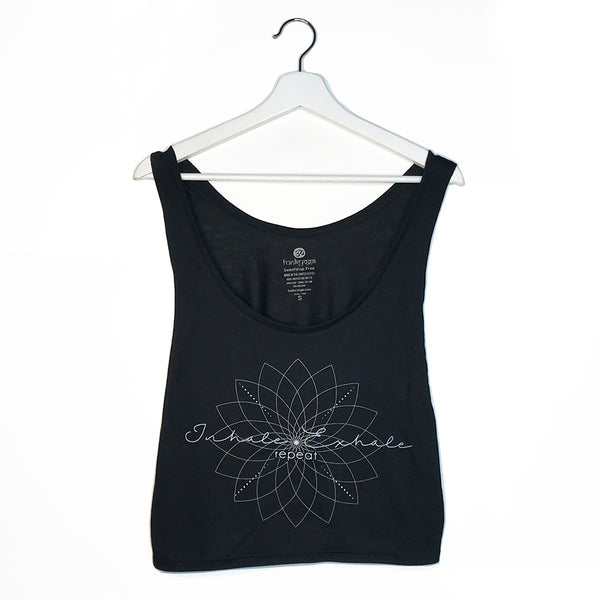 EXHALE REPEAT ~ BLACK RETRO BOXY TANK