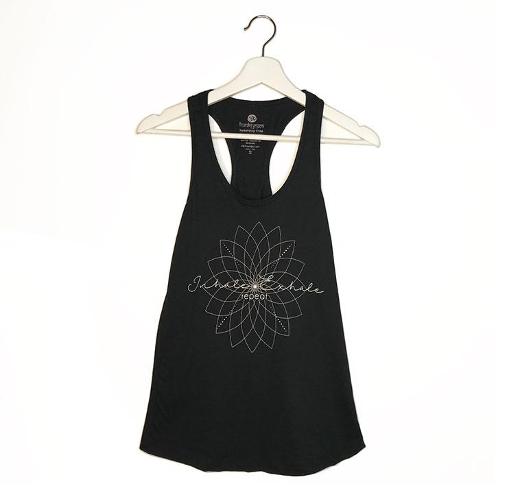 EXHALE REPEAT ~ BLACK COTTON RACER TANK