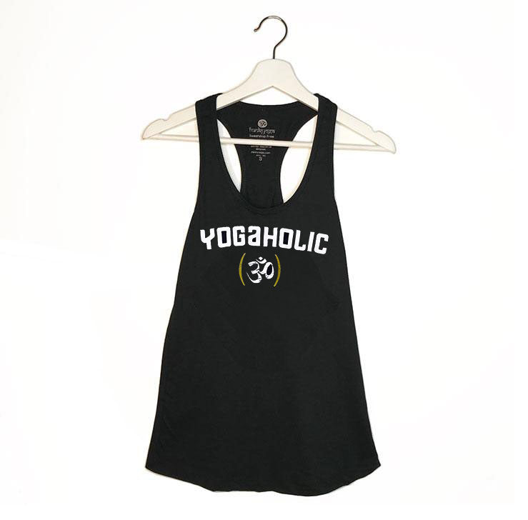 YOGAHOLIC ~ BLACK COTTON RACER TANK