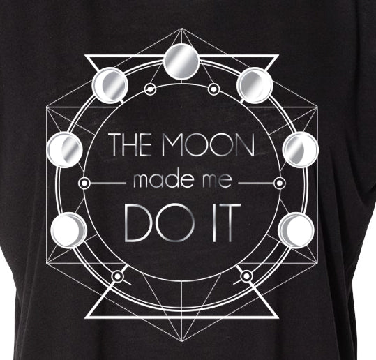 THE MOON MADE ME DO IT ~ BLACK COTTON RACER TANK