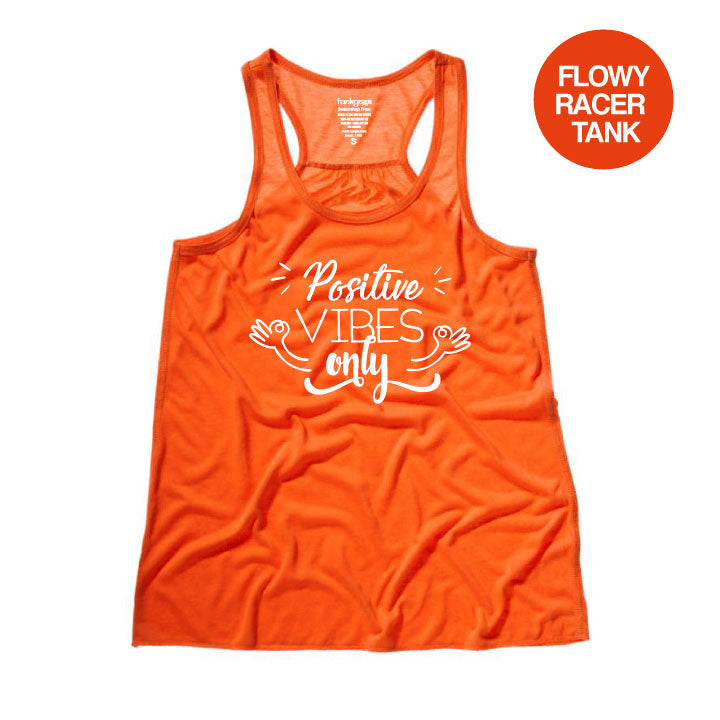 POSITIVE VIBES CORAL FLOWY RACER TANK