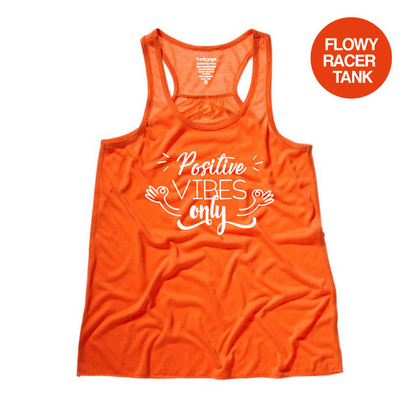 POSITIVE VIBES ~ CORAL FLOWY RACER TANK