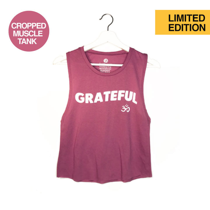 GRATEFUL OM ~ ROSE COTTON MUSCLE CROPPED TANK
