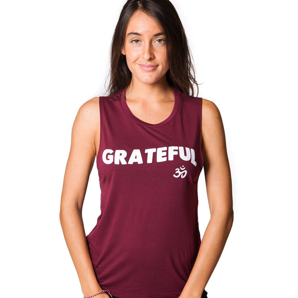 GRATEFUL OM ~ BURGUNDY FLOWY MUSCLE TANK