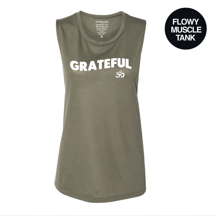 GRATEFUL OM ~ HEATHER OLIVE MUSCLE TANK