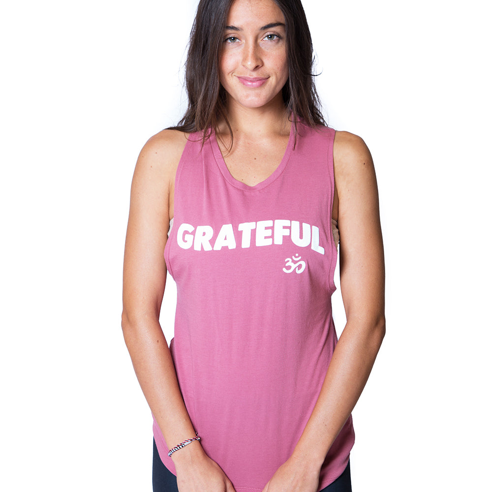 b6cd442f257bd2 GRATEFUL OM ROSE PINK COTTON MUSCLE TANK. funky Yoga Handmade
