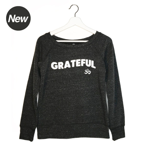 GRATEFUL OM HEATHER  BLACK OFF THE SHOULDER TRI BLEND FLEECE