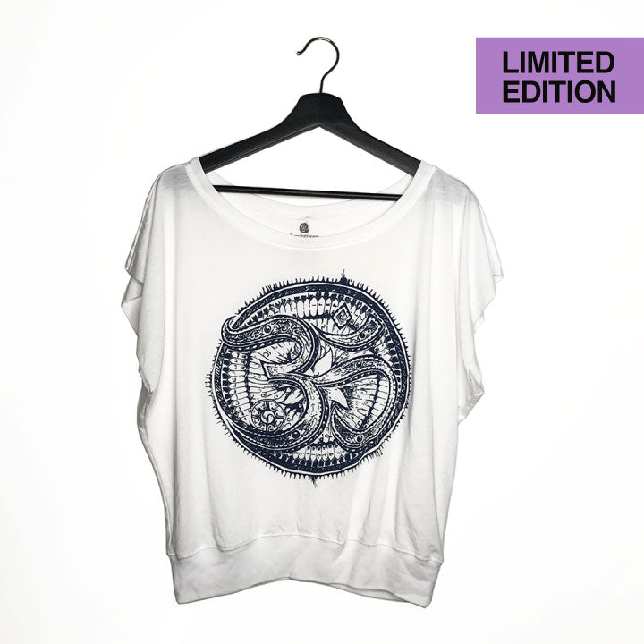 ONE-OF-A KIND TRIBAL OM ~ FLOWY CUT-OUT SLEEVES TEE