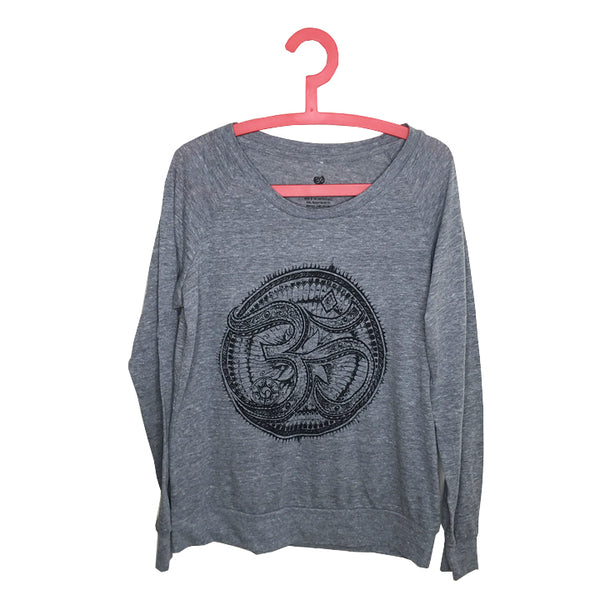 TRIBAL AUM ~ HEATHER GREY ORGANIC RECYCLED PULLOVER