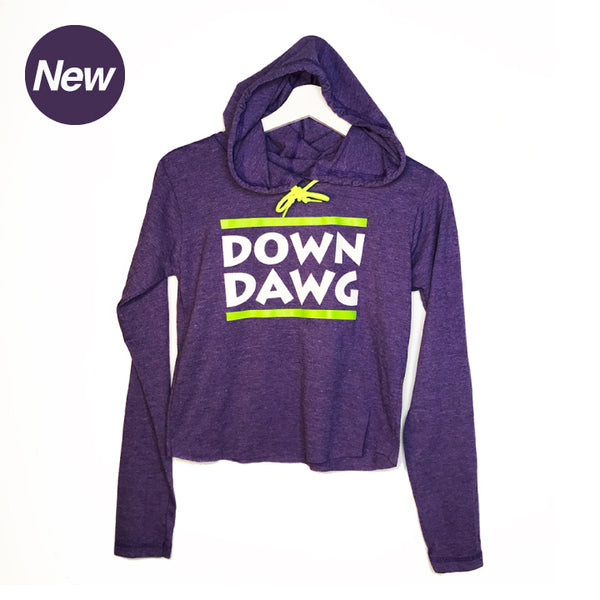 DOWN DAWG ~ HEATHER PURPLE COTTON CROPPED HOODIE