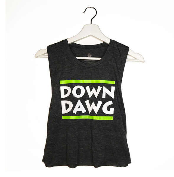 DAWN DAWG ~  DARK HEATHER GREY COTTON MUSCLE CROP TANK