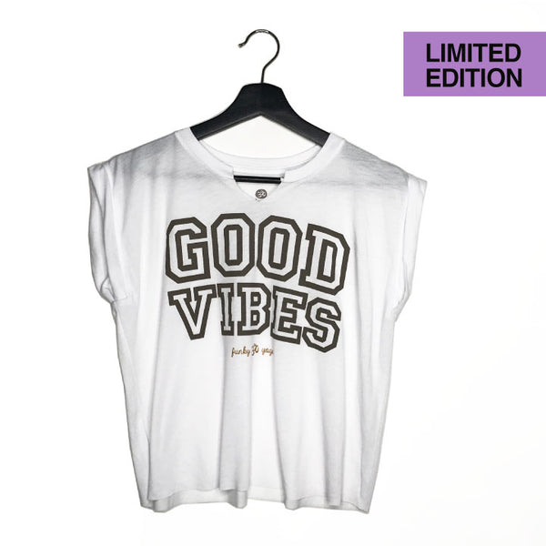 ONE-OF-A KIND GOOD VIBES ~ ROLLED CUFFED CROPPED TEE