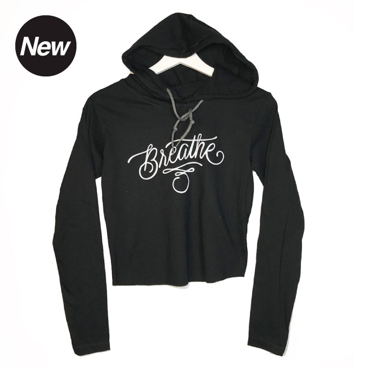 BREATHE TATOO ~ HEATHER BLACK COTTON CROPPED HOODIE