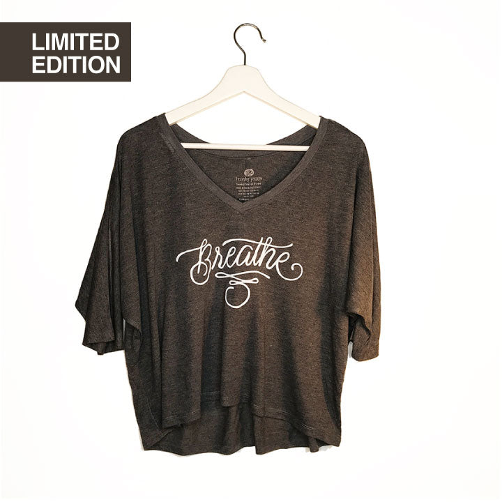 BREATHE TATTOO ~ DARK GREY FLOWY V-NECK HALF SLEEVE