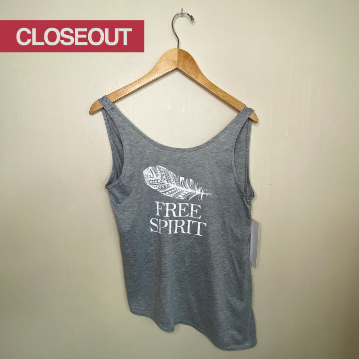 FREE SPIRIT ~ HEATHER GREY CROSS-BACK TOP (Only S)