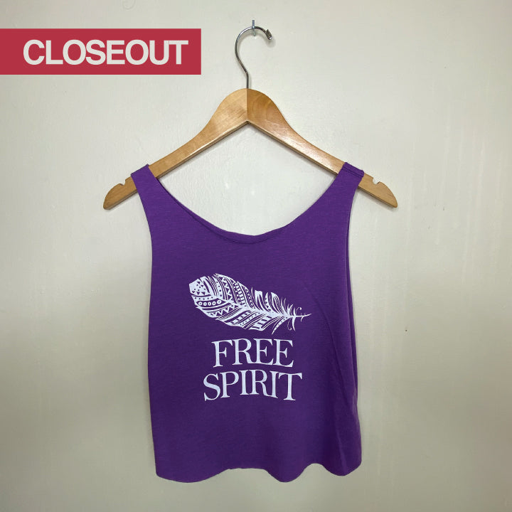 FREE SPIRIT ~HEATHER PURPLE COTTON ONE SIZE CUT OUT TANK