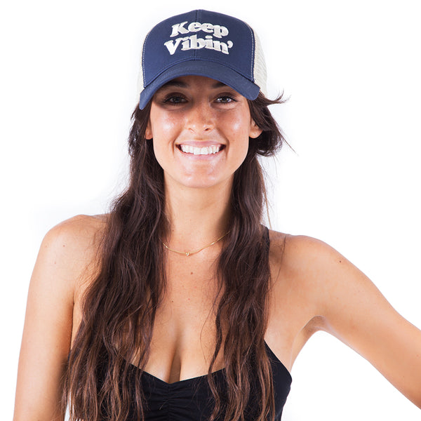 KEEP VIBIN' ~ NAVY ECO UNISEX TRUCKER MESH CAP