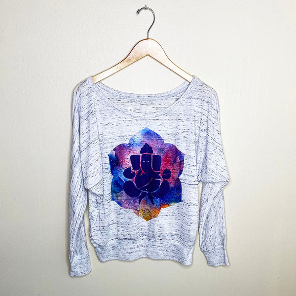 GANESHA COLORS ~ MARBLE WHITE FLOWY LONG SLEEVE