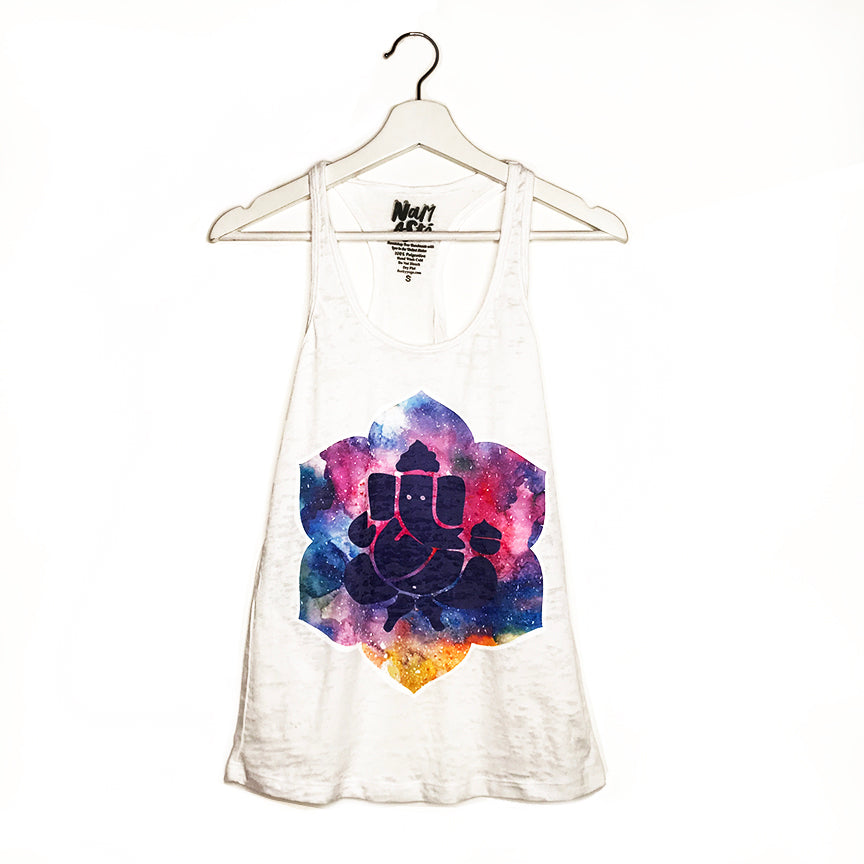 GANESH COLORS ~ WHITE BURNOUT RACER TANK