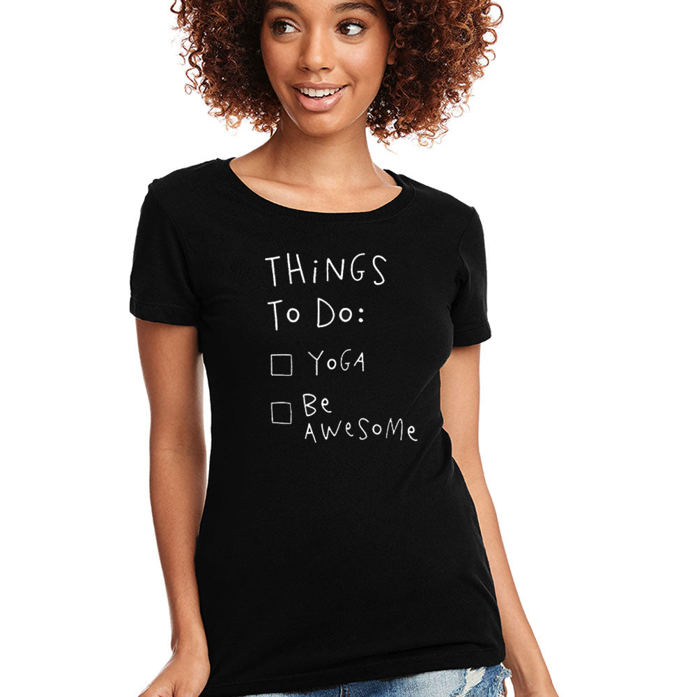 BE AWESOME ~ OPEN NECK BLACK COTTON SHEER TEE