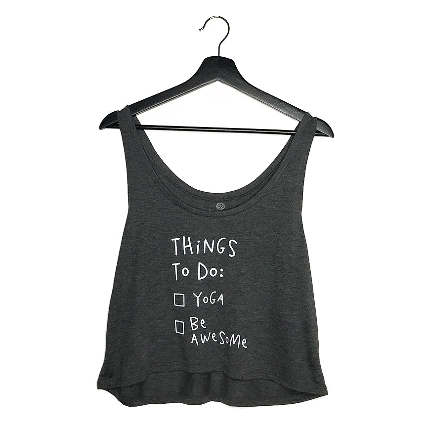BE AWESOME ~ DARK HEATHER GREY RETRO FLOWY BOXY TANK
