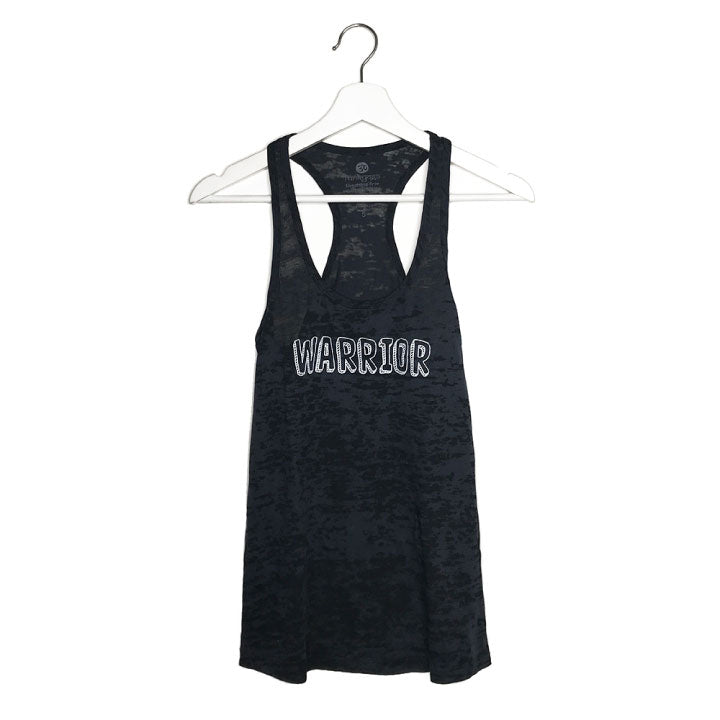 WARRIOR ~ BLACK BURNOUT RACER TANK