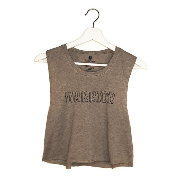 WARRIOR ~ HEATHER ASH COTTON FLOWY MUSCLE CROPPED TANK