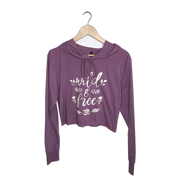 WILD & FREE ~ HEATHER PLUM COTTON CROPPED HOODIE