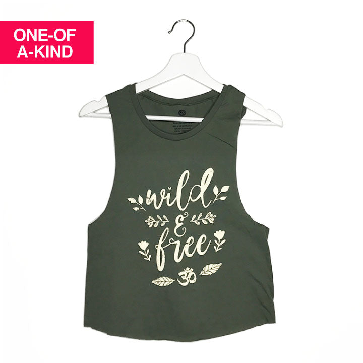 ONE-OF-A KIND WILD & FREE ~ MILITARY GREEN MUSCLE CROPPED TEE