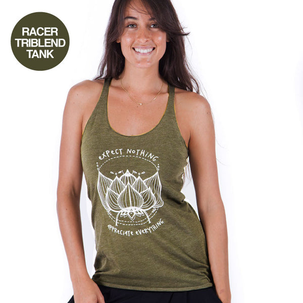 EXPECT NOTHING ~ HEATHER OLIVE TRIBLEND RACER TANK