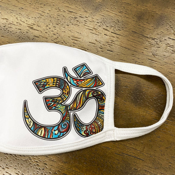 OM RETRO ~ WHITE SUBLIMATED PROTECTIVE MASK  ~ SHIPS IMMEDIATELY