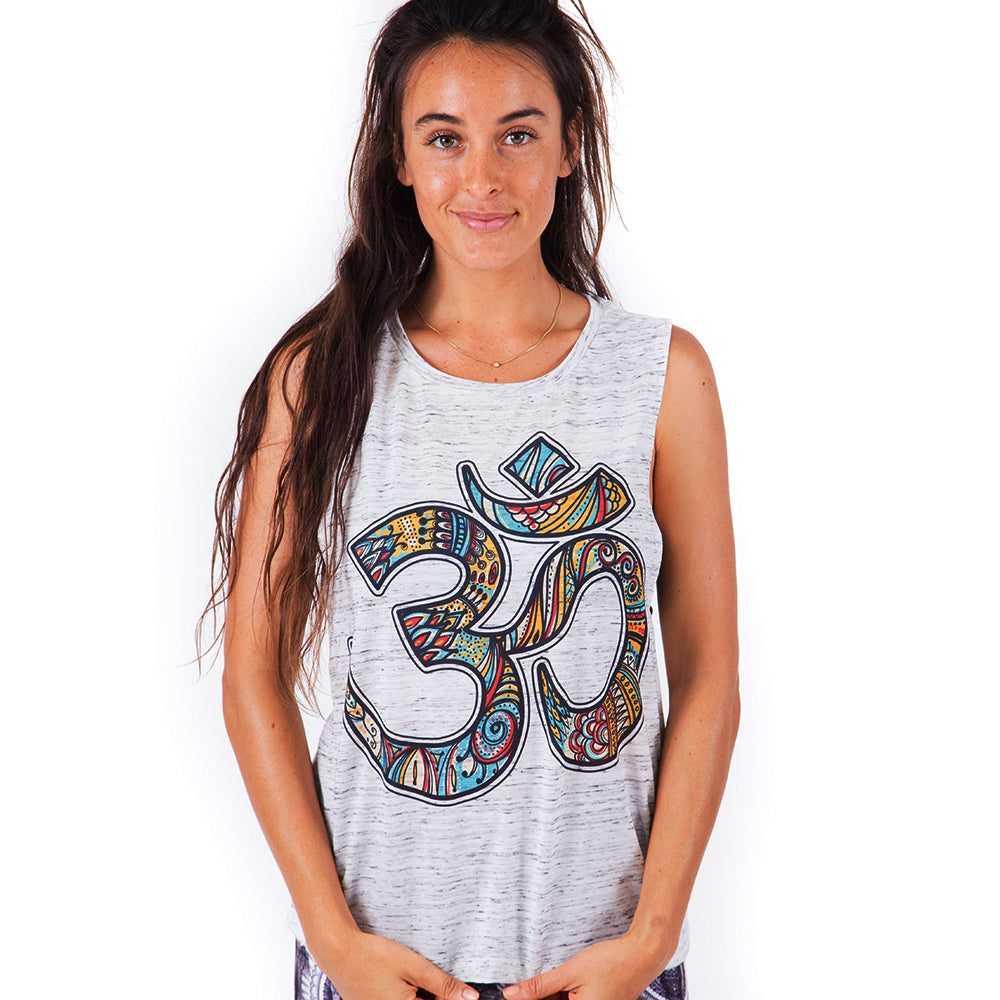 OM RETRO ~ MARBLE FLOWY  SUBLIMATED MUSCLE TANK